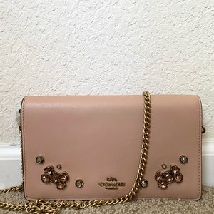 Callie Foldover Chain Clutch With Crystal Applique